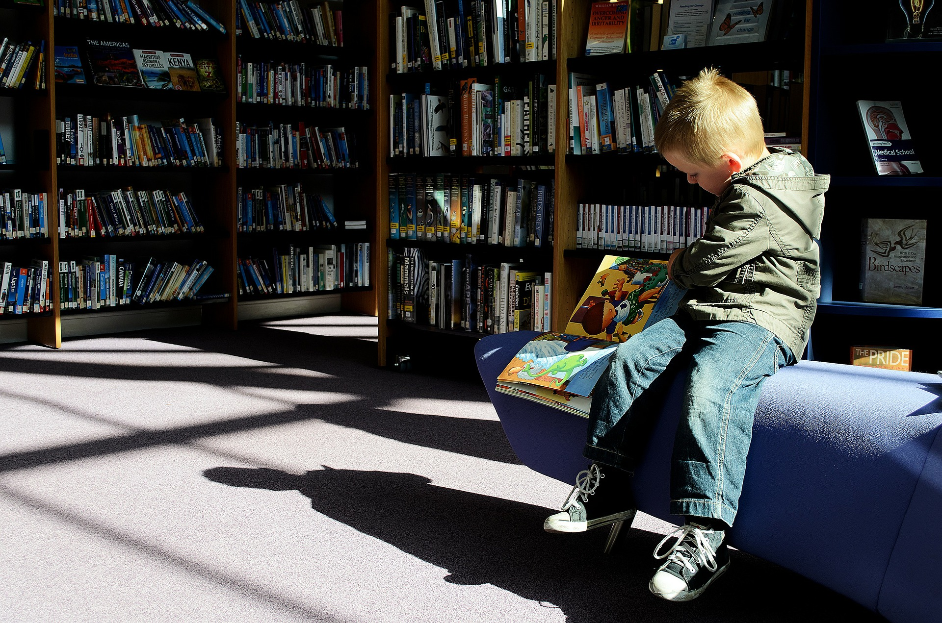 A boy reads a book in a library